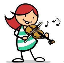 Auf einem Cartoon spielt eine Person Geige