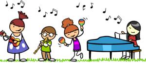 Auf einem Cartoon sind singende und musizierende Kinder zu sehen