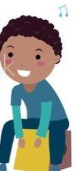 Auf einem Cartoon spielt ein Kind Cajón.