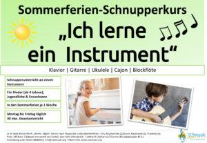 Auf einem Flyer ist Werbung für einen Schnupperkurs der Musikschule 123musik